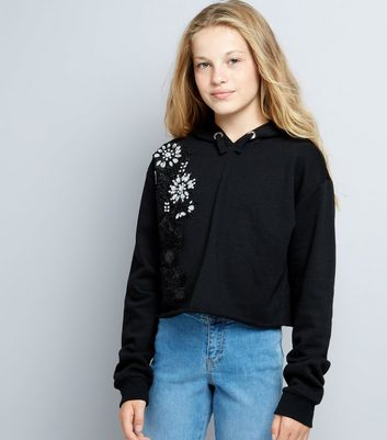 Teens Black Embellished Crochet Panel Hoodie