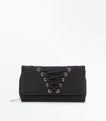 Black Eyelet Lace Up Fold Over Purse