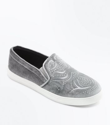 Teens Grey Studded Velvet Slip On Plimsolls