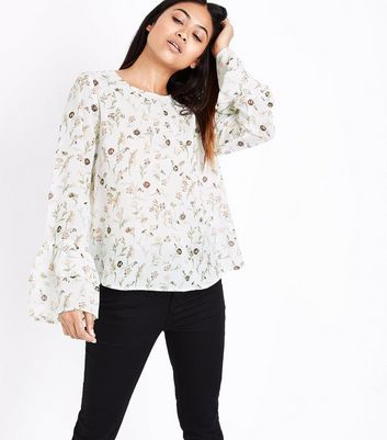 Petite White Floral Print Sequin Embellished Flared Sleeve Top