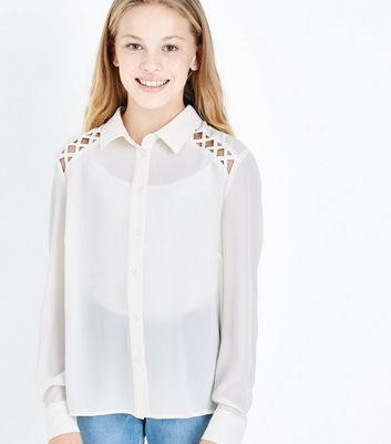 Teens Cream Lattice Raglan Sleeve Shirt