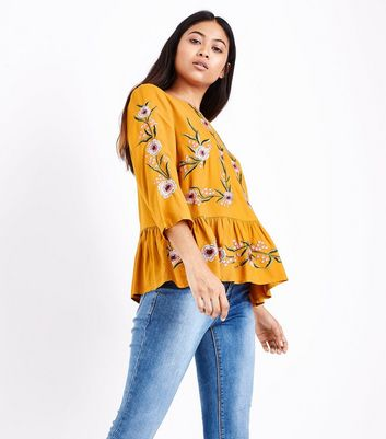 Petite Yellow Floral Embroidered Peplum Hem Top