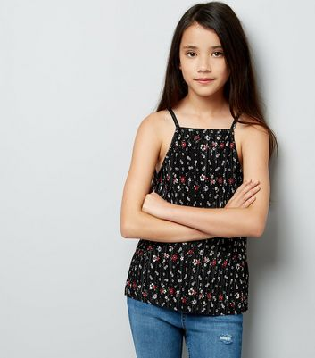 Teens Black Floral Plisse High Neck Cami Top