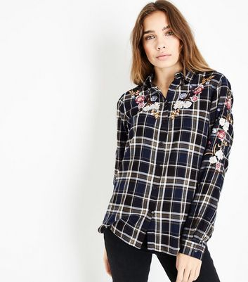 Blue Check Floral Embroidered Shirt