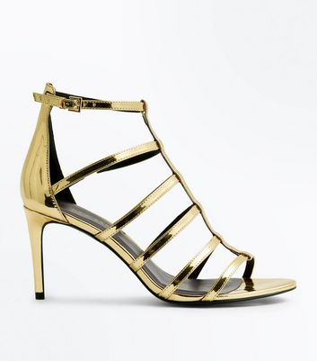 Wide Fit Gold Metallic Gladiator Heels | New Look