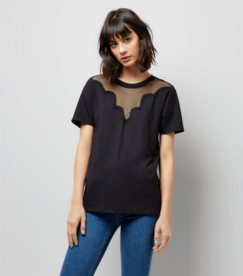 Tall Black Mesh Yoke T-Shirt