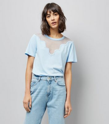 Blue Scalloped Mesh Panel T-Shirt