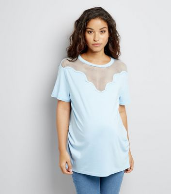 Maternity Pale Blue Mesh Yoke T-Shirt