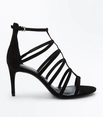 Wide Fit Black Suedette Gladiator Heels