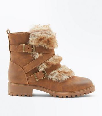 Tan Faux Fur Strap Side Boots
