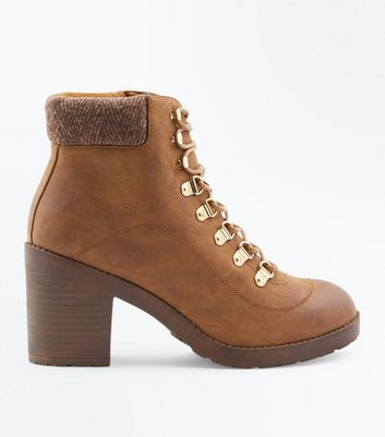 Tan Lace Up Heeled Hiker Boots