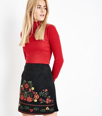 Black Embroidered Suedette Mini Skirt