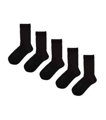 5 Pack Black Ribbed Socks