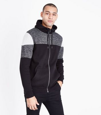 Black Colour Block Zip Front Hoodie