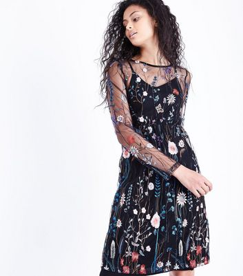 Blue Vanilla Black Floral Embroidered Dress