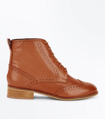 Tan Leather Lace Up Brogue Boots