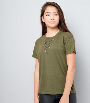 Teens Khaki Lace Up Front Boyfriend T-Shirt