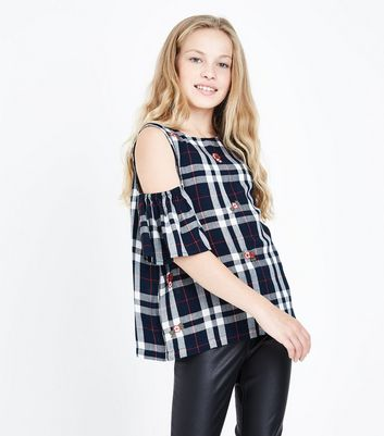 Teens Blue Embroidered Check Cold Shoulder Top