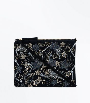 Black Embellished Cosmic Shoulder Bag