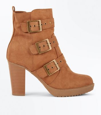 Tan Suedette Stud Buckle Heeled Ankle Boots