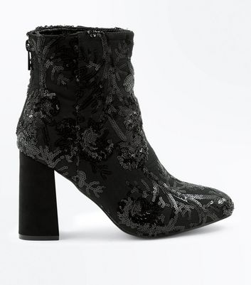 Black Sequin Embellished Block Heel Boots