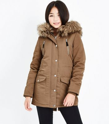 Teens Camel Faux Fur Trim Hooded Parka