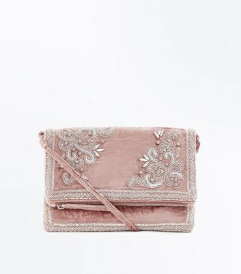 Shell Pink Velvet Embellished Foldover Clutch Bag