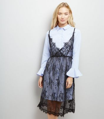 Blue Stripe Lace Overlay Shirt Dress