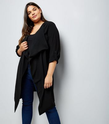 Curves Black Waterfall Duster Jacket