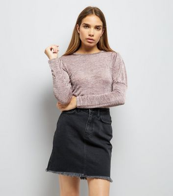 Pink Textured Fine Knit Puff Shoulder Top