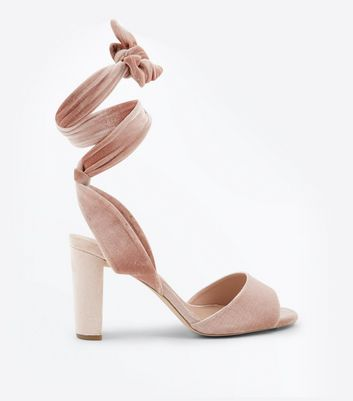 Wide Fit Pink Velvet Tie Up Block Heel Sandals