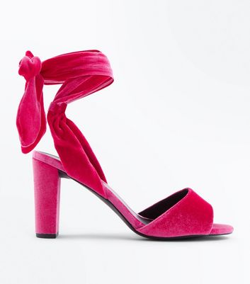Bright Pink Velvet Tie Up Block Heel Sandals
