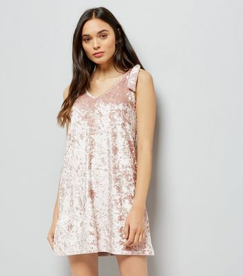 Shell Pink Velvet Tie Shoulder Dress