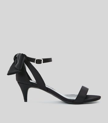 Wide Fit Black Satin Bow Back Kitten Heel Sandals