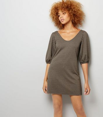 Black Check Puff Sleeve Dress