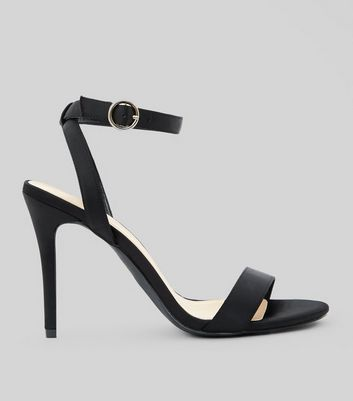 Wide Fit Black Satin Stiletto Heel Sandals