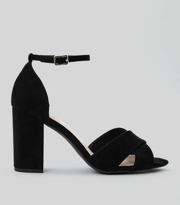 Wide Fit Black Comfort Suedette Cross Strap Sandals