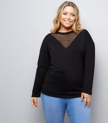 Curves Black Mesh Insert Sweater