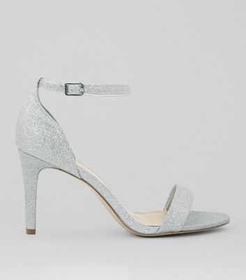 Wide Fit Silver Glitter Ankle Strap Heels | New Look