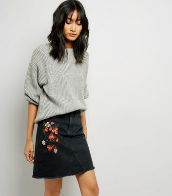 Black Floral Embroidered Denim Mom Skirt
