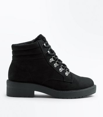 Teens Black Suedette Faux Fur Trim Boots