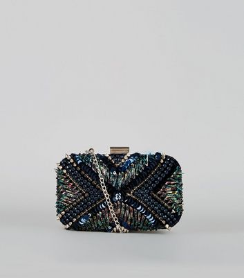 Blue Stud Embellished Box Clutch
