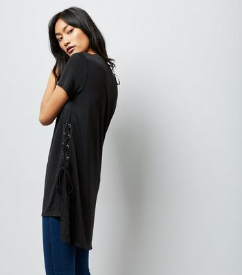 Black Lace Up Side Longline T-Shirt