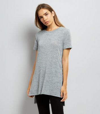 Pale Grey Lace Up Side Longline T-Shirt