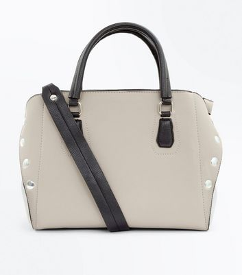 Cream Contrast Studded Cross Body Bag