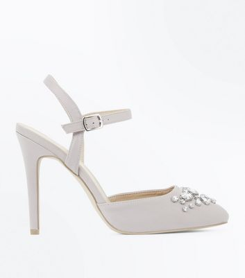 Wide Fit Grey Satin Embellished Court Shoes