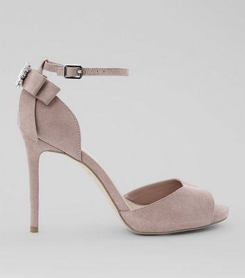 Wide Fit Pink Brooch Bow Back Heeled Sandals