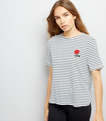 Navy Stripe Rose Embroidered T-Shirt