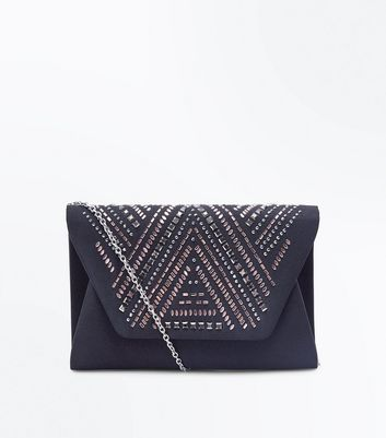 Black Gem Embellished Clutch Bag