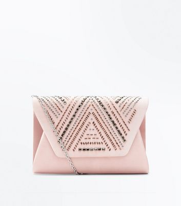 Pink Sequin Detail Clutch Bag